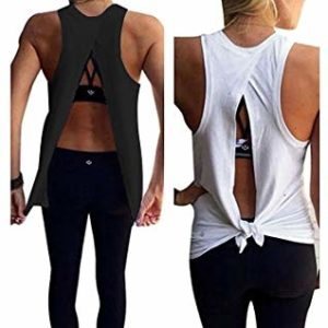 b7cf651c5f Mazonyi Women's Sexy Open Back Yoga Workout Tops Backless Shirt Active Workout  Clothes